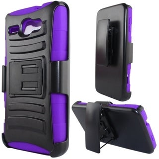 INSTEN Heavy Duty Armor Style 2 Hard PC Silicone Phone Case Cover With Holster For Alcatel One Touch Snap LTE