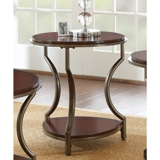 Morelia Round Wood and Metal End Table by Greyson Living