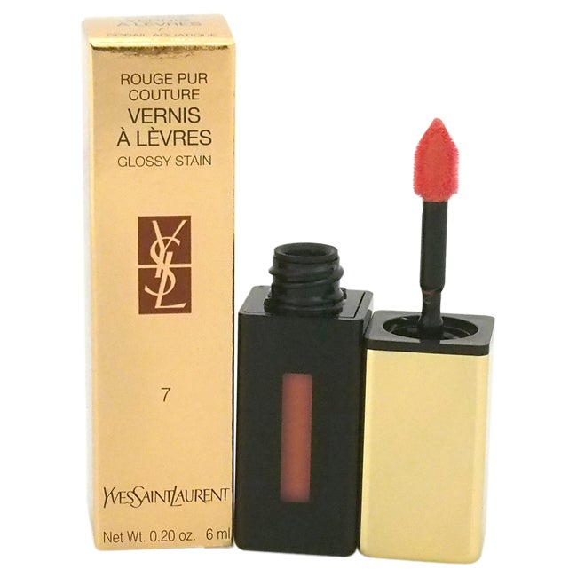 Yves Saint Laurent Rouge Pur Couture Glossy Stain 7 Corail Aquarelle 0.20 OZ (Red - Lip Gloss)