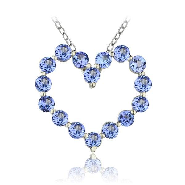 Glitzy Rocks Silver Tanzanite Heart Necklace