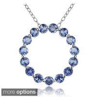 Glitzy Rocks Silver Tanzanite Circle Necklace