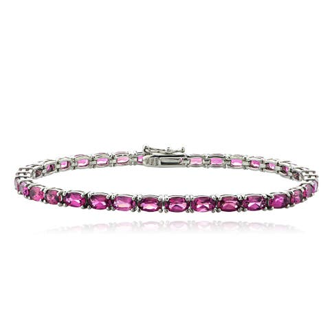 Glitzy Rocks Sterling Silver 8ct Pink Tourmaline Oval Tennis Bracelet