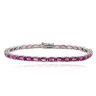 Glitzy Rocks Sterling Silver 8ct Pink Tourmaline Oval Tennis Bracelet