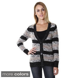 Hadari Women's Striped Button-up Cardigan