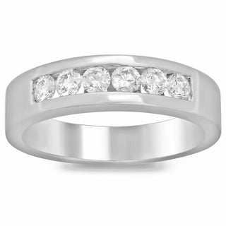 Men's 14k White Gold 3/4ct TDW Diamond Ring (F-G, SI1-SI2)