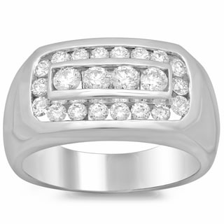 Men's 14k White Gold 1 3/5ct TDW Diamond Ring (F-G, SI1-SI2)