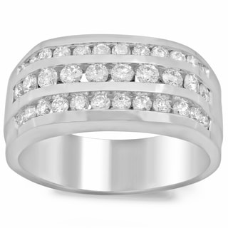 Men's 14k White Gold 1 1/2ct TDW Diamond Ring (F-G, SI1-SI2)