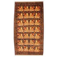 Handmade Herat Oriental Semi-antique Afghan Tribal Balouchi Navy/ Beige Wool Rug - 7' x 12'11 (Afghanistan)
