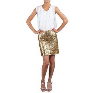 DFI Women's Gold Sequined Dress with Blouson Top