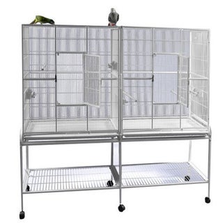 """Double Flight Bird Cage with Divider (64' x 21')  - 64 """"w x 21""""d x 65""""h"""