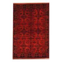 Herat Oriental Afghan Hand-knotted Tribal Khal Mohammadi Red/ Black Wool Rug (4'2 x 6'5) - 4'2 x 6'5