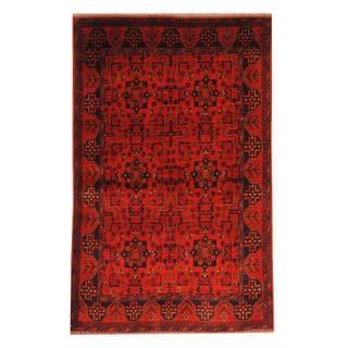 Herat Oriental Afghan Hand-knotted Tribal Khal Mohammadi Red/ Black Wool Rug (4'2 x 6'7)