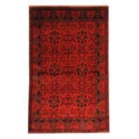 Handmade Herat Oriental Afghan Tribal Khal Mohammadi Red/ Black Wool Rug  - 4'2 x 6'7 (Afghanistan)