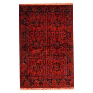 Herat Oriental Afghan Hand-knotted Tribal Khal Mohammadi Red/ Black Wool Rug (4'2 x 6'5)