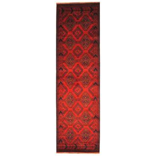Herat Oriental Afghan Hand-knotted Tribal Khal Mohammadi Red/ Ivory Wool Rug (2'9 x 9'4)