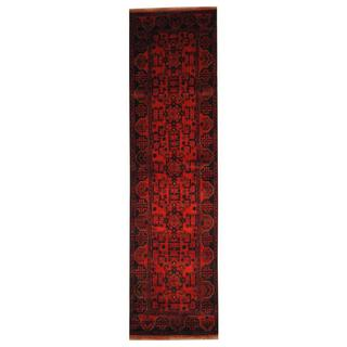 Herat Oriental Afghan Hand-knotted Tribal Khal Mohammadi Red/ Ivory Wool Rug (2'7 x 9'7)