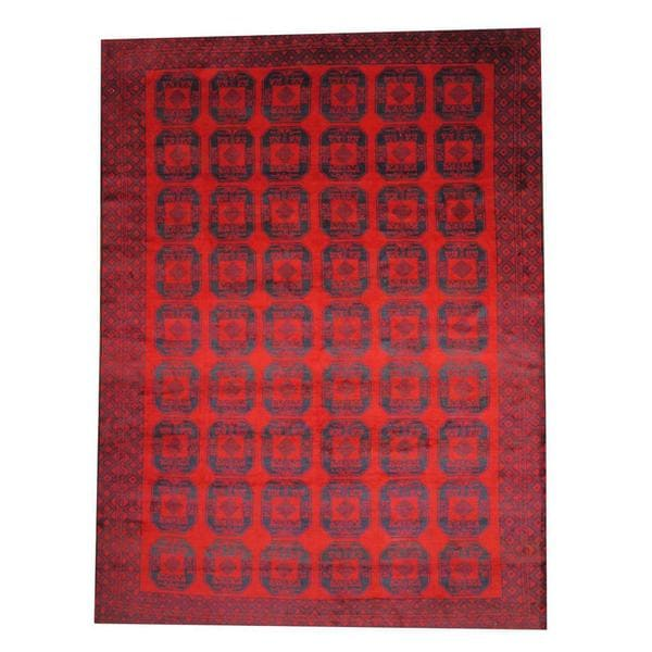 Herat Oriental Semi-antique Afghan Hand-knotted Tribal Balouchi Red/ Navy Wool Rug (9'5 x 12'11)