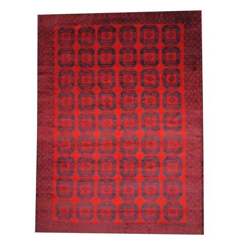 Handmade Herat Oriental Semi-antique Afghan Tribal Balouchi Red/ Navy Wool Rug - 9'5 x 12'11 (Afghanistan)