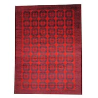 Handmade Herat Oriental Semi-antique Afghan Tribal Balouchi Red/ Navy Wool Rug - 9'5 x 12'11 (Afghanistan)