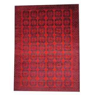 Handmade Herat Oriental Semi-antique Afghan Tribal Balouchi Red/ Navy Wool Rug (Afghanistan) - 9'5 x 12'11