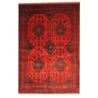 Herat Oriental Afghan Hand-knotted Tribal Khal Mohammadi Red/ Navy Wool Rug (6'8 x 9'9)