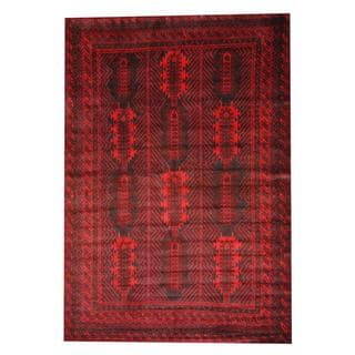 Herat Oriental Semi-antique Afghan Hand-knotted Tribal Balouchi Red/ Black Wool Rug (6'8 x 9'8)
