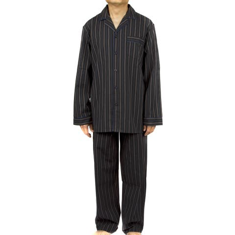 Leisureland Men's Black Striped Cotton Poplin Pajama Set