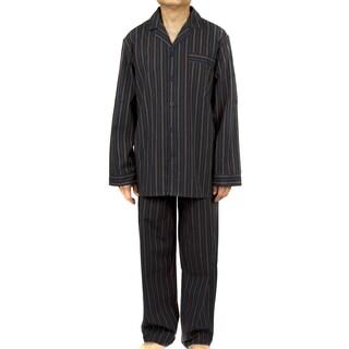 Leisureland Men's Black Striped Cotton Poplin Pajama Set (4 options available)