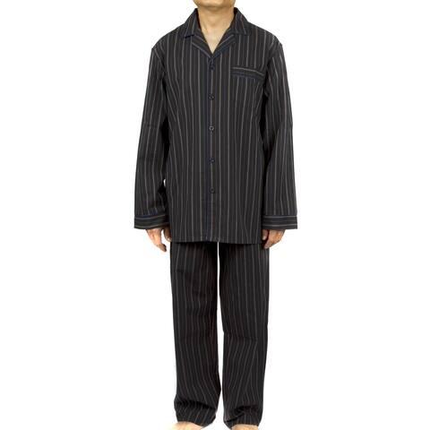 Leisureland Men's Black Striped Cotton Poplin Pajama Set
