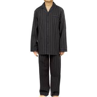 Leisureland Men's Black Striped Cotton Poplin Pajama Set|https://ak1.ostkcdn.com/images/products/9670528/P16851178.jpg?impolicy=medium