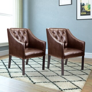 CorLiving Antonio Bonded Leather Accent Club Chair (Set of 2) (Option: Brown)