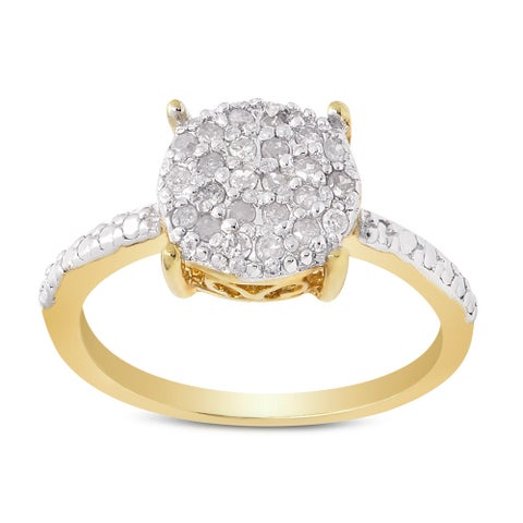 Finesque Gold plated Sterling Silver 1/4ct TDW Pave Diamond Circle Ring