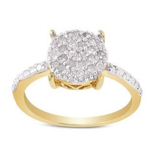 Finesque Gold plated Sterling Silver 1/4ct TDW Pave Diamond Circle Ring (I-J, I2-I3)