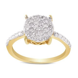 Finesque Gold over Sterling Silver 1/4ct TDW Diamond Circle Ring