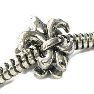 Queenberry Sterling Silver Fleur-de-lis Lily Flower European Bead Charm