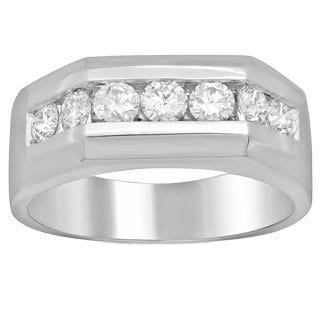 Men's 14k White Gold 1 1/6ct TDW Diamond Ring (F-G, SI1-SI2)