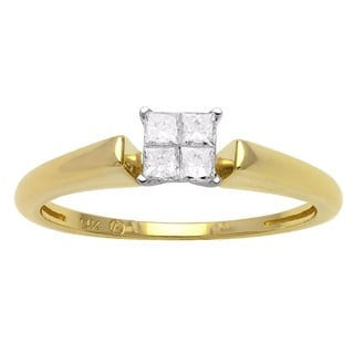 Beverly Hills Charm 14k Two-tone Gold 1/5ct TDW Diamond Composite Princess Engagement Ring