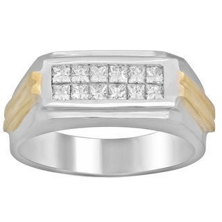 Men's 14k Two-tone 3/4 ct TDW Diamond Ring (E-F, VS1-VS2)
