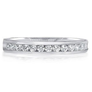 Amore Platinum 1/4ct TDW 13-Stone Channel Set Diamond Wedding Band