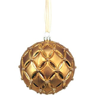 Sage & Co Floral Pattern Glass Ball Ornament