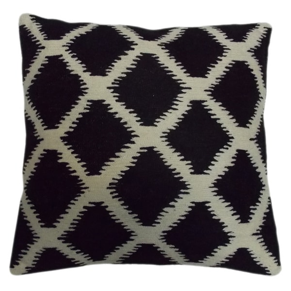 Black/ White Ikat Crewel Embroidered 20-inch Throw Pillow - Free Shipping Today - Overstock.com ...