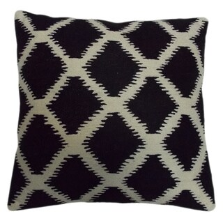 Black/ White Ikat Crewel Embroidered 20-inch Throw Pillow