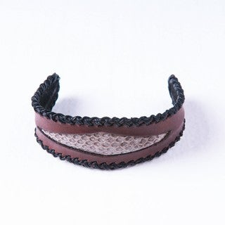 Snakeskin Side Stitched Brown Genuine Leather Cuff Bracelet (Thailand)