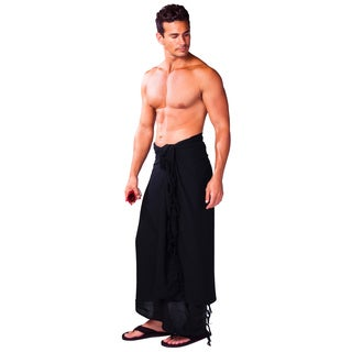1 World Sarongs Men's Solid Color Sarong (Indonesia) (Option: Black)