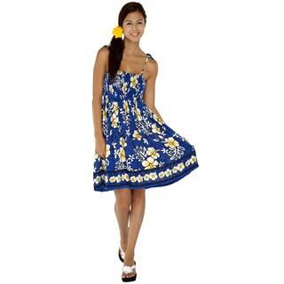 1 World Sarongs Women's Royal Blue/ White Hibiscus Design Tube Top Sundress (Indonesia)