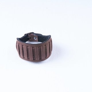 Brown Wide Slit Genuine Leather Snap-on Bracelet (Thailand)