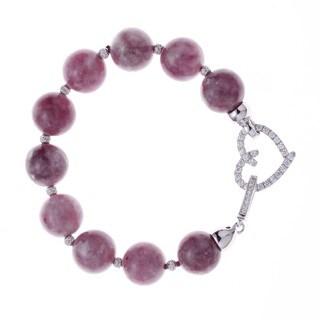 Rhodium-plated Sterling Silver Cubic Zirconia/ Purple Lepidolite Beaded Strand Bracelet