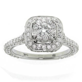 14k White Gold 1 .70ct TDW Round Top Diamond Engagement Halo Ring G-H/ SI1- SI2