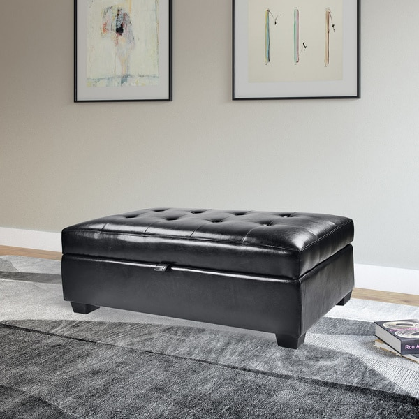 Ottomans Deacon Beige Upholstered Blanket Box: Shop CorLiving Antonio Bonded Leather Storage Ottoman