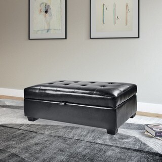 CorLiving Antonio Bonded Leather Storage Ottoman